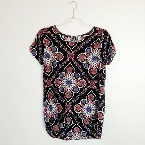 Old Navy Black Floral Short Sleeve Top Size Small